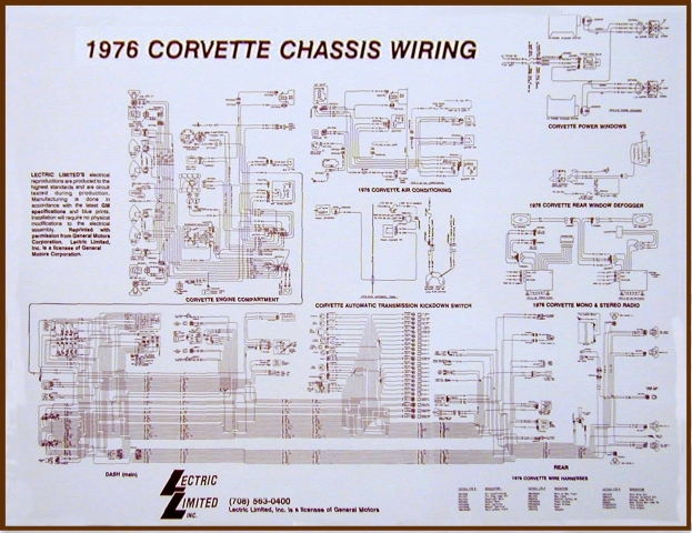Corvette Wiring Diagram Laminated 17 X 22 68    74053j