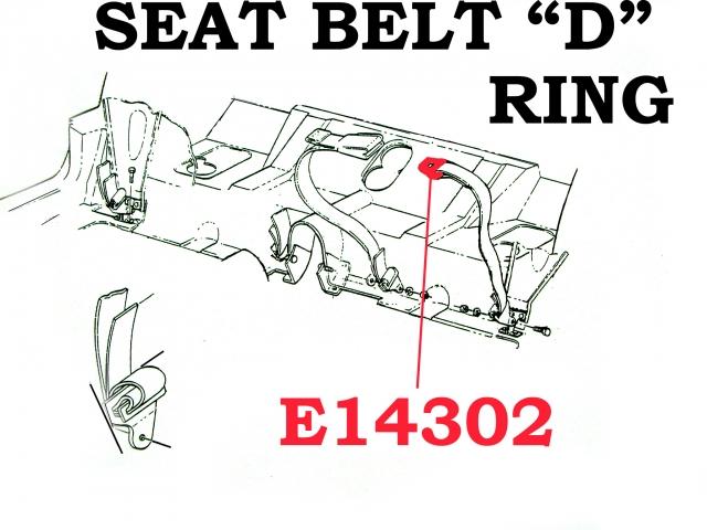 D Ring Seat Belt L62 66 E14302 Corvette Pacifica