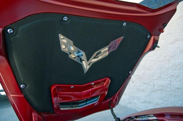 New Corvette Stingray >> Corvette Badge Hood Liner Stainless Steel C7 Crossed Flags 14 17 ( #E21881 ) | Corvette Pacifica