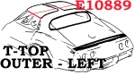 E10889 WEATHERSTRIP-T TOP-OUTER-USA-LEFT-68-69