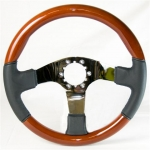 E13432 WHEEL-STEERING-BLACK LEATHER-MAHOGANY-POLISHED 3 SPOKE-WITH TILT AND TELE-EXC 76-69-82