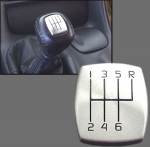 E13712 BUTTON COVER-SHIFTER KNOB-6 SPEED-BRUSHED ALUMINUM-DISCONTINUED-97-04