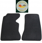 E14833L MAT SET-FLOOR-80-20 LOOP-WITH EMBROIDERED CORVETTE CIRCLE LOGO-COLORS-PAIR-59-60