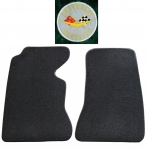 E14834L MAT SET-FLOOR-80-20 LOOP-WITH EMBROIDERED CORVETTE CIRCLE LOGO-COLORS-PAIR-61-62