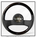 E15258 WHEEL-STEERING-BLACK LEATHER-BLACK ASH WOOD-DIRECT FIT-84-89