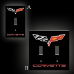 E15718 COVER-C6 CORVETTE LOGO LIGHT SWITCH PLATE