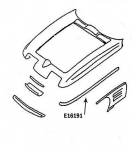 E16191 BONDING STRIP-UPPER FENDER-PRESS MOLDED-GRAY-LEFT HAND-63-66
