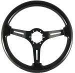 E16378 WHEEL-STEERING-BLACK WOOD FINISH-BLACK SPOKES WITH SLOTS-63-82