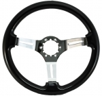 E16377 WHEEL-STEERING-BLACK WOOD FINISH-CHROME SPOKES WITH SLOTS-63-82