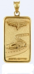 E18846 JEWELRY-INGOT-14K GOLD PLATE OVER .925 STERLING SILVER-CORVETTE C6 EMBLEM