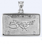 E18860 JEWELRY-LICENSE PLATE-.925 STERLING SILVER-CORVETTE 50TH ANNIVERSARY