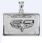 E19385 JEWELRY-LICENSE PLATE-.925 STERLING SILVER-CORVETTE 60TH ANNIVERSARY