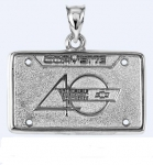 E19387 JEWELRY-LICENSE PLATE-.925 STERLING SILVER-CORVETTE 40TH ANNIVERSARY