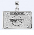 E19388 JEWELRY-LICENSE PLATE-.925 STERLING SILVER-CORVETTE C4 EMBLEM