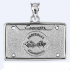 E19389 JEWELRY-LICENSE PLATE-.925 STERLING SILVER-CORVETTE C1 EMBLEM