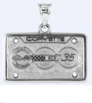 E19390 JEWELRY-LICENSE PLATE-.925 STERLING SILVER-CORVETTE 35TH ANNIVERSARY
