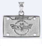 E19393 JEWELRY-LICENSE PLATE-.925 STERLING SILVER-CORVETTE 25TH ANNIVERSARY