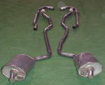 E20102 EXHAUST SYSTEM-STAINLESS STEEL-2.5 INCH-SMALL BLOCK-MANUAL-WELDED MUFFLER-63