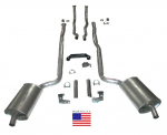 E20211 EXHAUST SYSTEM-DELUXE-2 INCH-SMALL BLOCK-MANUAL & AUTOMATIC-WELDED MUFFLER-64-67
