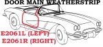 E2061L WEATHERSTRIP-DOOR MAIN-USA-LEFT-59-60