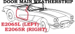 E2065R WEATHERSTRIP-DOOR MAIN-USA-RIGHT-61-62