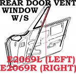 E2069R WEATHERSTRIP-REAR DOOR VENT WINDOW-CONVERTIBLE-USA-RIGHT-63-67
