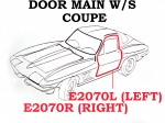 E2070L WEATHERSTRIP-DOOR MAIN-COUPE-USA-LEFT-63-67