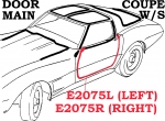 E2075L WEATHERSTRIP-DOOR MAIN-COUPE-USA-LEFT-69-77