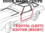 E2076L WEATHERSTRIP-DOOR MAIN-COUPE-USA-LEFT-78-82
