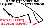 E2082R WEATHERSTRIP-HARDTOP-VERTICAL LOWER EXTENSION-USA-RIGHT-63-67