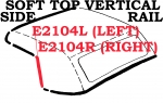 E2104R WEATHERSTRIP-SOFT TOP-VERTICAL SIDE RAIL-USA-RIGHT-63-67