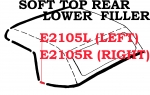 E2105R WEATHERSTRIP-SOFT TOP-REAR LOWER FILLER-USA-RIGHT-63-67