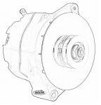E21261 ALTERNATOR-BLACK WRINKLE-100 AMP-DELCO STYLE-65-68