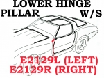 E2129L WEATHERSTRIP-LOWER HINGE PILLAR-COUPE, T TOP OR CONVERTIBLE-USA-LEFT-68-72