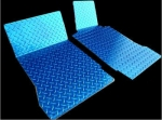 E21422 Mat Set-Floor-Diamond Plate-Polished Aluminum-Blue-Pair-99-04