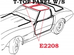 E2208 WEATHERSTRIP-T-TOP PANEL-WITH FASTENERS-USA-PAIR-77L-82