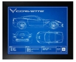 E22817 PRINT-FRAMED-CORVETTE C7 BLUEPRINT PHOTOGRAPH-14-19