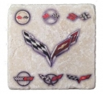 E22861 Corvette Generations Stone Tile Coaster LIGHT-53-19