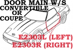 E2303R WEATHERSTRIP-DOOR MAIN-COUPE OR CONVERTIBLE-USA-RIGHT-84-89