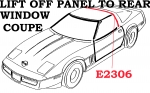 E2306 WEATHERSTRIP-LIFT OFF PANEL TO REAR WINDOW-COUPE-USA-EACH-84-96