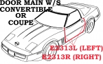 E2313L WEATHERSTRIP-DOOR MAIN-COUPE OR CONVERTIBLE-USA-LEFT-90-96