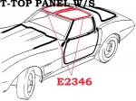 E2346 WEATHERSTRIP-T-TOP PANEL-WITH FASTENERS-USA-PAIR-70-E77