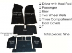 E5932 CARPET SET-COMPLETE-CONVERTIBLE-4 SPEED-80-20 LOOP-WITH PAD-71-75