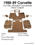 E5991 CARPET SET-REAR-COUPE-CUT PILE-POLY BACK-88-89