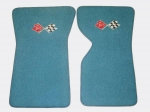 EC975LF MAT SET-FLOOR-80-20 LOOP-WITH EMBROIDERED CROSS FLAGS LOGO-COLORS-PAIR-70-72