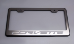 E21850 Frame-License Plate-Black-C7 Corvette Lettering-Carbon Fiber Inlay-7 Colors Available