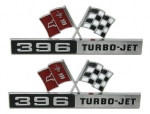 E3157 EMBLEM SET-FRONT SIDE FENDER-396 TURBO-JET-WITH FASTENERS-PAIR-65