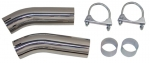 EC551 EXHAUST TIPS-POLISHED STAINLESS STEEL-NON FLARED-WITH CLAMPS-PAIR-74-82